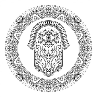 Motif circulaire en forme de mandala pour le henné, mehndi, tatouage, décoration. ornement décoratif de style oriental avec fleur et symbole dessiné à la main hamsa. page de livre de coloriage.