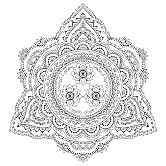 Motif circulaire en forme de mandala. style mehndi. motif décoratif de style oriental.