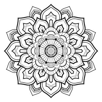 Motif circulaire noir et blanc floral mandala ornemental contour pour pages de livre de coloriage