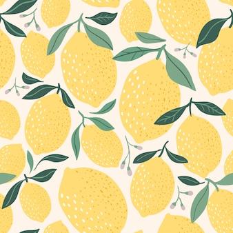 Motif de citron décoratif / fond / papier peint, éléments dessinés à la main, design moderne