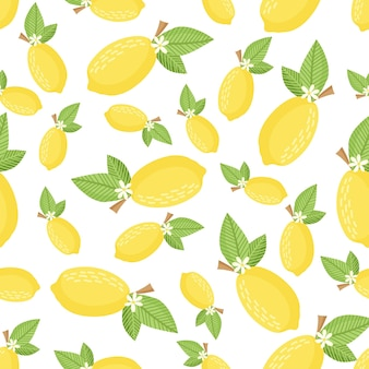 Motif citron sans couture. fond clair pour l'impression sur tissu, papier peint et papier. vecteur