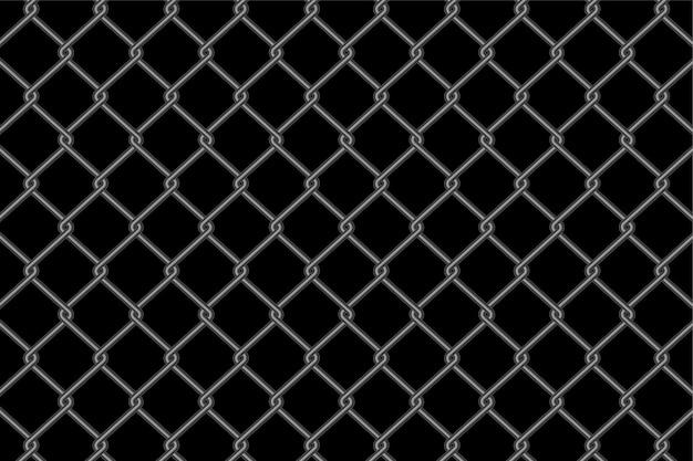 Motif de clôture à mailles métalliques sur fond noir