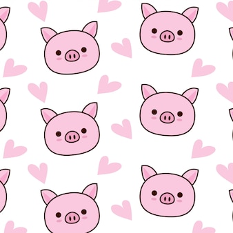 Motif cochon mignon avec coeur