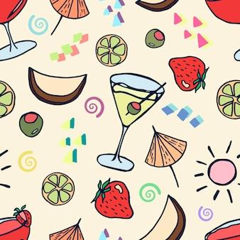 Un motif avec des cocktails d'été et des boissons aux fruits dans un style doodle sur fond jaune