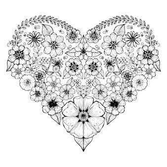Motif coeur de fleur ornée