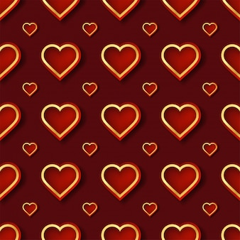 Motif coeur rouge et or avec une forme créative dans un style géométrique.