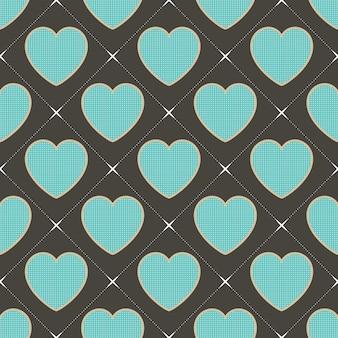 Motif coeurs colorés avec forme géométrique. fond de saint valentin pour modèle de vacances. illustration de style créatif et de luxe