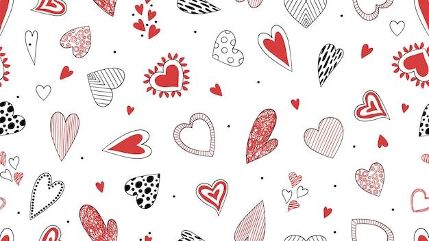 Motif de coeurs de griffonnage. fond d'amour décoratif dessiné à la main, st. illustration vectorielle de la saint-valentin. motif coeur sans couture, papier peint décoratif