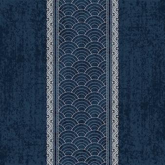 Motif de colorant indigo sashiko avec broderie japonaise traditionnelle blanche