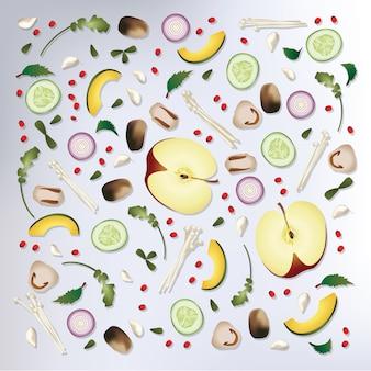 Motif coloré aliments crus fond illustration vectorielle