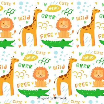 Motif coloré d'animaux et de mots sauvages doodle