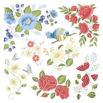 Motif coloré de broderie florale