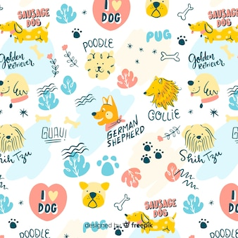 Motif coloré de chiens et mots doodle