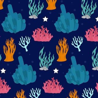 Motif coloré avec des coraux