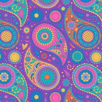 Motif coloré dans un style paisley