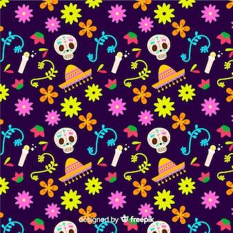 Motif coloré dia de muertos au design plat