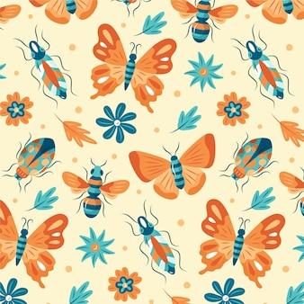 Motif coloré avec différents insectes et fleurs