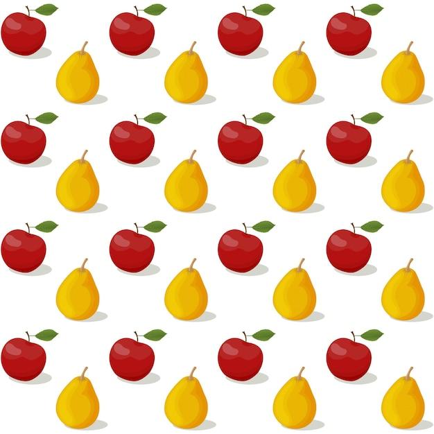 Motif coloré de fruits aquarelle transparente de vecteur avec pomme et poire