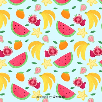Motif coloré de fruits tropicaux