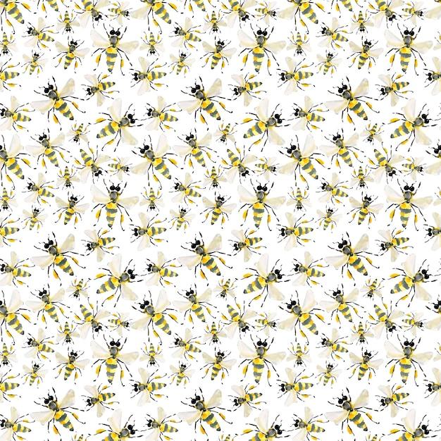 Motif coloré d'illustration d'abeilles