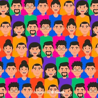 Motif coloré de jeunes
