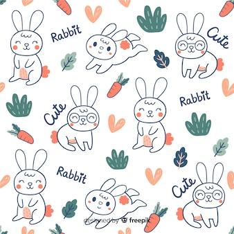 Motif coloré de lapins et mots doodle