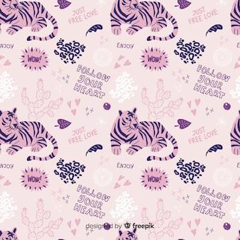 Motif coloré tigres doodle et mots