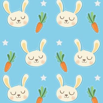Motif cony sourire et petites carottes