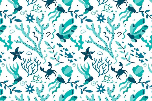 Motif corail bleu plat