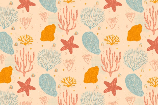 Motif corail coloré vintage