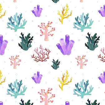 Motif corail créatif aquarelle