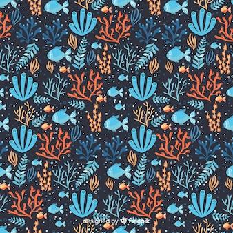 Motif corail dessiné main sombre