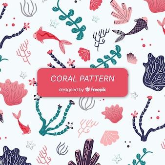 Motif corail dessiné à la main