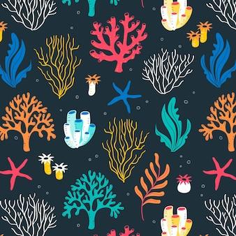 Motif corail avec des éléments colorés de la mer