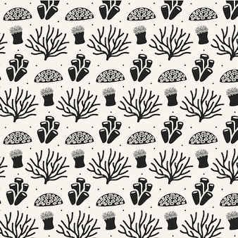 Motif corail noir et blanc