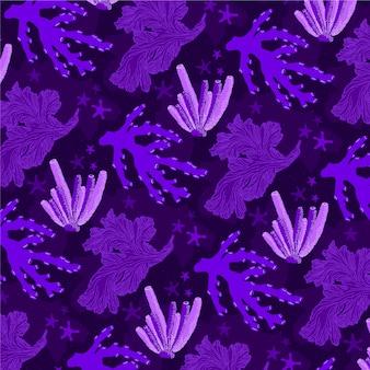 Motif de corail violet avec différents éléments de la mer