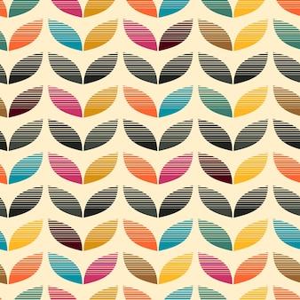 Motif de couleur de feuille rétro