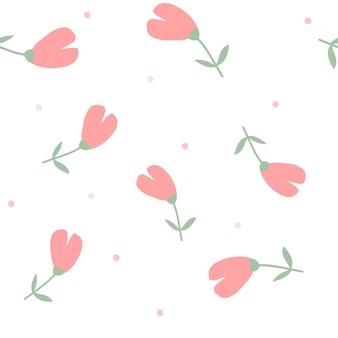 Motif de couleur sans couture floral dessiné à plat dans des couleurs pastel couleurs et points mignons