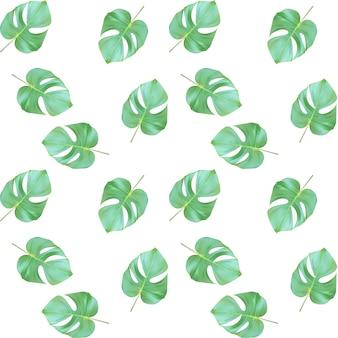 Motif de coutures. feuilles vertes naturalistes colorées sur la branche.