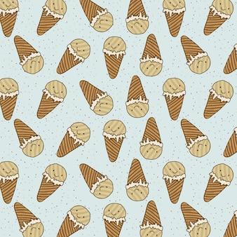 Motif de crème glacée heureux