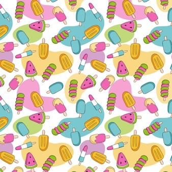 Motif de crème glacée à la main