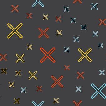 Motif de croix aléatoire, arrière-plan géométrique abstrait dans un style rétro des années 80 et 90. illustration géométrique colorée