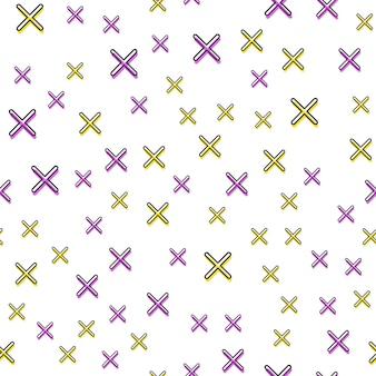 Motif de croix aléatoire dans le style rétro des années 80 et 90. abstrait géométrique