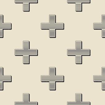 Motif de croix rétro. abstrait géométrique dans une image de style années 80 et 90. illustration simple géométrique