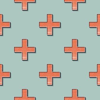 Motif de croix rétro, arrière-plan géométrique abstrait dans le style des années 80 et 90. illustration simple géométrique