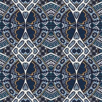 Motif damassé abstrait médaillon arabesque bleue ornementale transparente