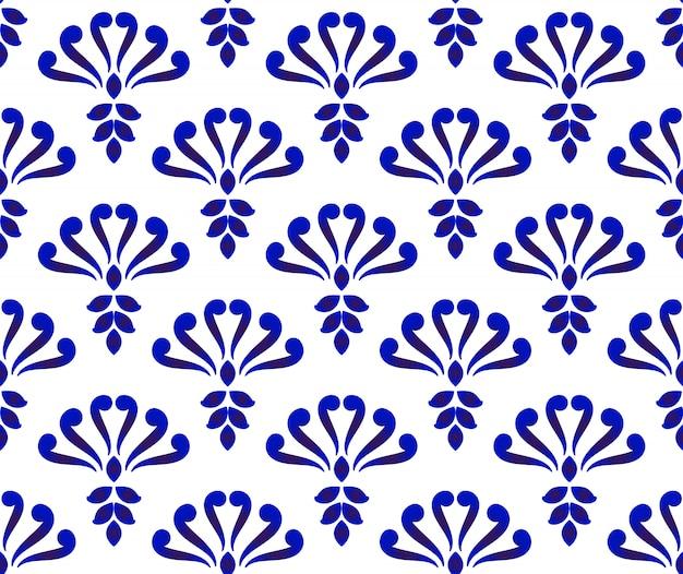 Motif damassé bleu et blanc