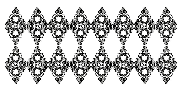 Motif de damassé noir vintage ornement oriental pour dentelle de marqueterie de tatouage de découpe au laser noir et