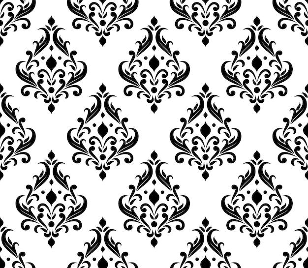 Motif damassé, papier peint classique noir et blanc