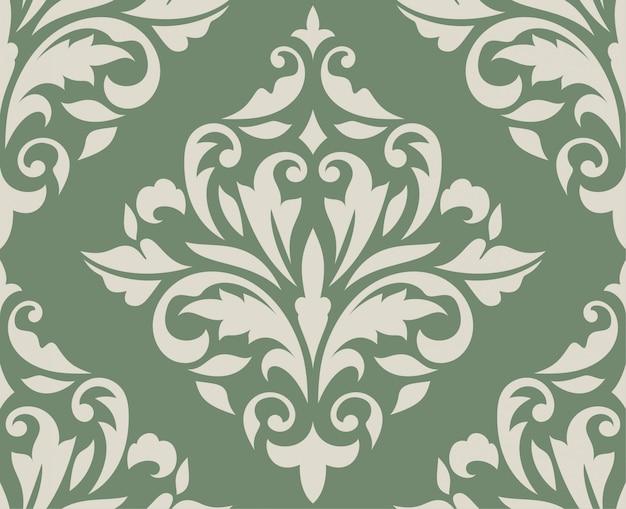 Motif damassé sans couture classique sur vert